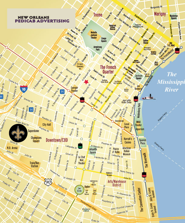 New Orleans Pedicab map
